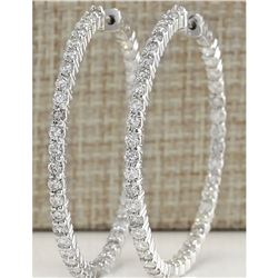 2.68 CTW Natural Diamond Hoop Earrings 18K Solid White Gold