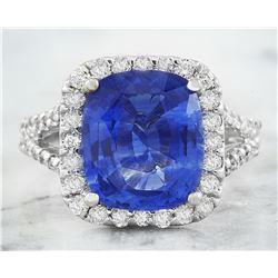 6.50 CTW Sapphire 18K White Gold Diamond Ring