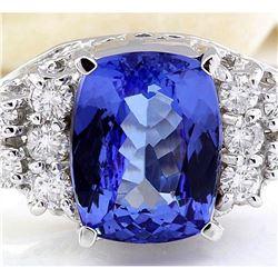 3.40 CTW Natural Tanzanite 18K Solid White Gold Diamond Ring