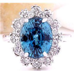 9.20 CTW Natural Zircon 14K Solid White Gold Diamond Ring