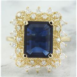 7.03 CTW Sapphire 14K Yellow Gold Diamond Ring