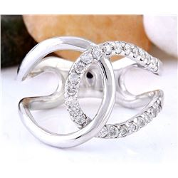 0.50 CTW Natural Diamond 18K Solid White Gold Ring