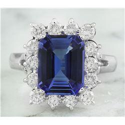 5.06 CTW Tanzanite 14K White Gold Diamond Ring
