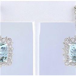 17.29 CTW Natural Aquamarine And Diamond Earrings 14k White Gold