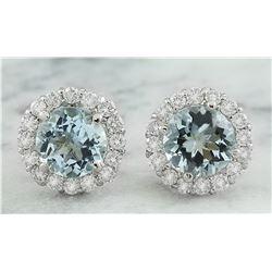 3.66 CTW Aquamarine 18K White Gold Diamond Earrings