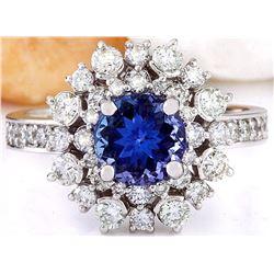 2.50 CTW Natural Tanzanite 18K Solid White Gold Diamond Ring
