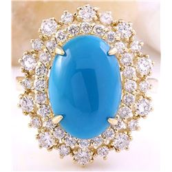 7.10 CTW Natural Turquoise 18K Solid Yellow Gold Diamond Ring