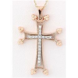 0.30 CTW Natural Diamond Pendant In 14k Solid Rose Gold