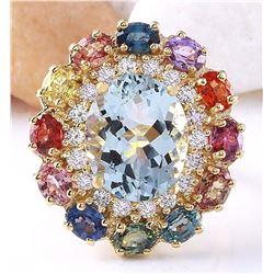 9.36 CTW Natural Aquamarine, Sapphire 18K Solid Yellow Gold Diamond Ring