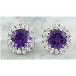 3.65 CTW Amethyst 18K White Gold Diamond Earrings