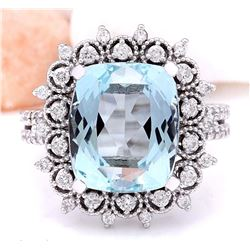 8.13 CTW Natural Aquamarine 18K Solid White Gold Diamond Ring