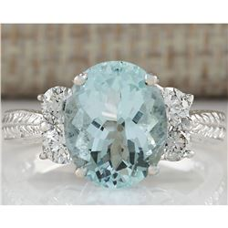 4.03CTW Natural Blue Aquamarine Diamond Ring 18K Solid White Gold