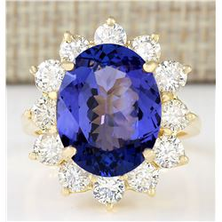10.50 CTW Natural Blue Tanzanite And Diamond Ring 18K Solid Yellow Gold