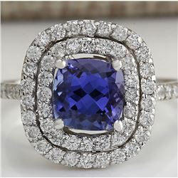 2.45  CTW Natural Blue Tanzanite And Diamond Ring In 18K White Gold