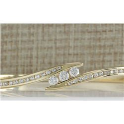1.00CTW Natural Diamond Bracelet In 18K Solid Yellow Gold