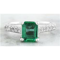 1.47 CTW Emerald 18K White Gold Diamond Ring