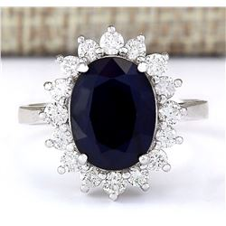 6.42 CTW Natural Blue Sapphire And Diamond Ring In 18K White Gold
