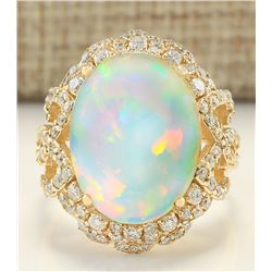 7.75 CTW Natural Opal And Diamond Ring In 14k Yellow Gold