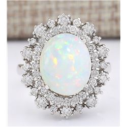 4.20 CTW Natural Opal And Diamond Ring In14k White Gold