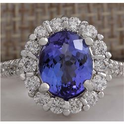 4.54 CTW Natural Blue Tanzanite And Diamond Ring 14K Solid White Gold