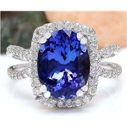 5.11 CTW Natural Tanzanite 18K Solid White Gold Diamond Ring