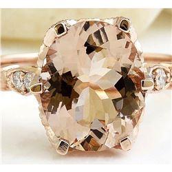 2.15 CTW Natural Morganite 18K Solid Rose Gold Diamond Ring