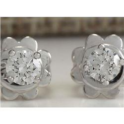 0.30CTW Natural Diamond Earrings 14K Solid White Gold