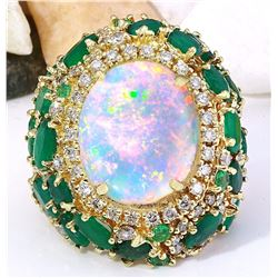23.55 CTW Natural Opal, Emerald 14K Solid Yellow Gold Diamond Ring