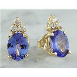2.79 CTW Tanzanite 14K Yellow Gold Diamond Earrings