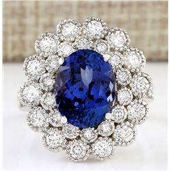5.51 CTW Natural Blue Tanzanite And Diamond Ring 18K Solid White Gold