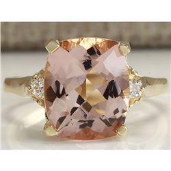 4.86 CTW Natural Morganite And Diamond Ring 14K Solid Yellow Gold