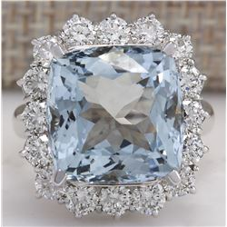 12.11 CTW Natural Aquamarine And Diamond Ring In 18K Solid White Gold