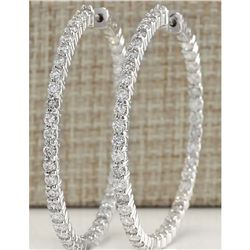2.68 CTW Natural Diamond Hoop Earrings 14k Solid White Gold