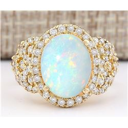 4.86 CTW Natural Opal And Diamond Ring In 14k Yellow Gold