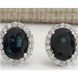 6.86 CTW Natural Sapphire And Diamond Earrings 18K Solid White Gold