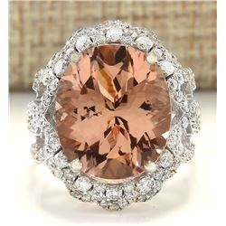 9.80 CTW Natural Morganite And Diamond Ring In 14k White Gold