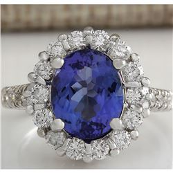 4.68 CTW Natural Blue Tanzanite And Diamond Ring 18K Solid White Gold