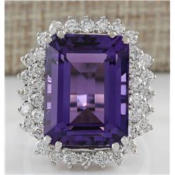 15.12 CTW Natural Amethyst And Diamond Ring In 14K Solid White Gold