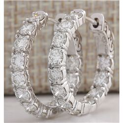 3.44CTW Natural Diamond Hoop Earrings 14K Solid White Gold