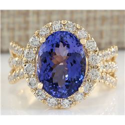 7.18 CTW Natural Tanzanite And Diamond Ring 14K Solid Yellow Gold