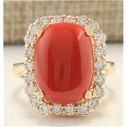 10.13 CTW Natural Coral And Diamond Ring In 14k Yellow Gold