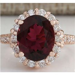 5.50CTW Natural Red Tourmaline And Diamond Ring 18K Solid Rose Gold