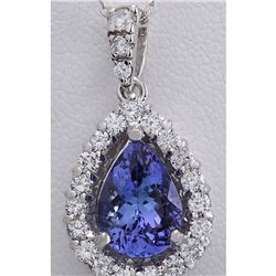 3.85 CTW Natural Tanzanite And Diamond Pendant In 14K Solid White Gold