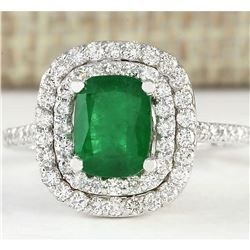 2.44 CTW Natural Emerald And Diamond Ring In 18K White Gold
