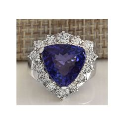 11.21CTW Natural Blue Tanzanite And Diamond Ring 18K Solid White Gold