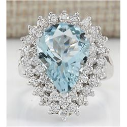 5.90 CTW Natural Aquamarine And Diamond Ring In 14K White Gold