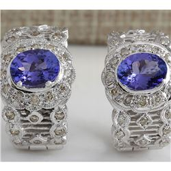 4.20 CTW Natural Tanzanite And Diamond Earrings 18K Solid White Gold