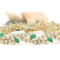 8.00 CTW Natural Emerald 14K Solid Yellow Gold Diamond Bracelet