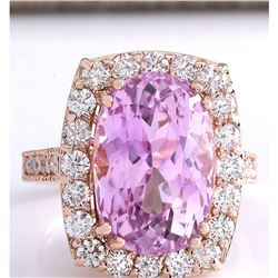 12.33 CTW Natural Kunzite And Diamond Ring 18K Solid Rose Gold