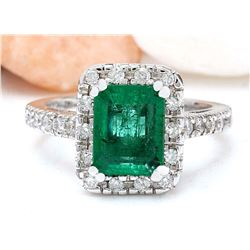 3.26 CTW Natural Emerald 18K Solid White Gold Diamond Ring